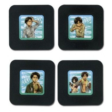 Attack on Titan Anime Onderzetters Set - Eren, Mikasa, Levi